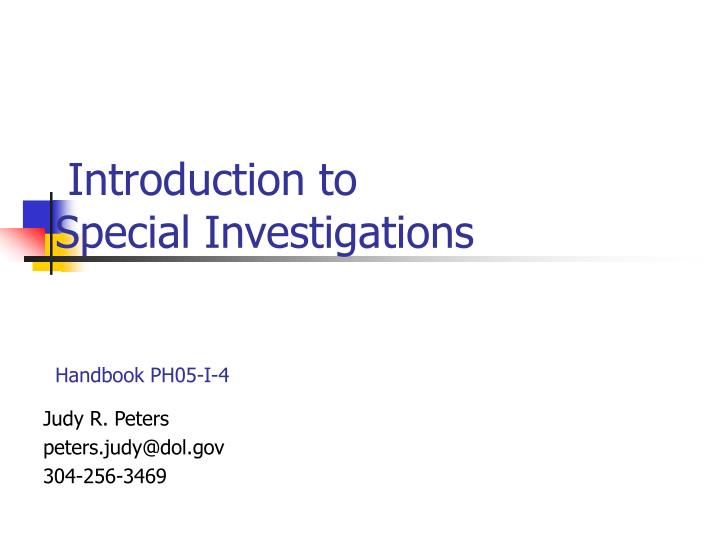 introduction to special investigations handbook ph05 i 4 n.