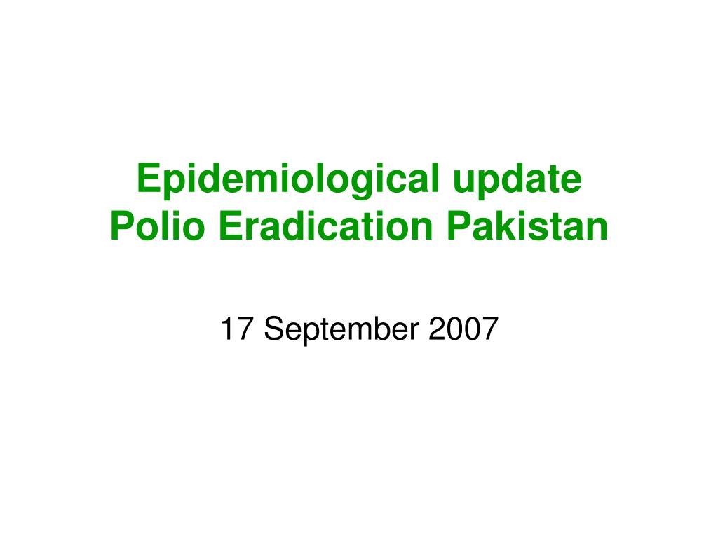 Epidemiological update