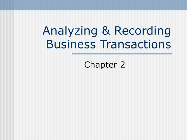 analyzing recording business transactions n.