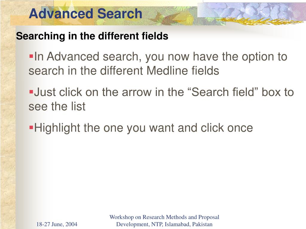 Searching in the different fields