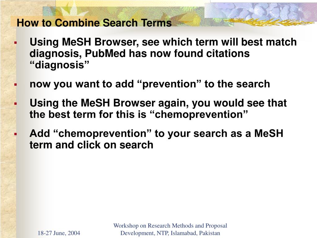 How to Combine Search Terms