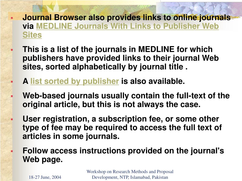 Journal Browser also provides links to online journals via