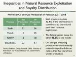 inequalities in natural resource exploitation and royalty distribution