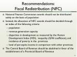recommendations fiscal redistribution nfc