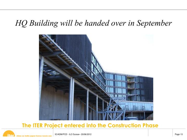 HQ Building will be handed over in September