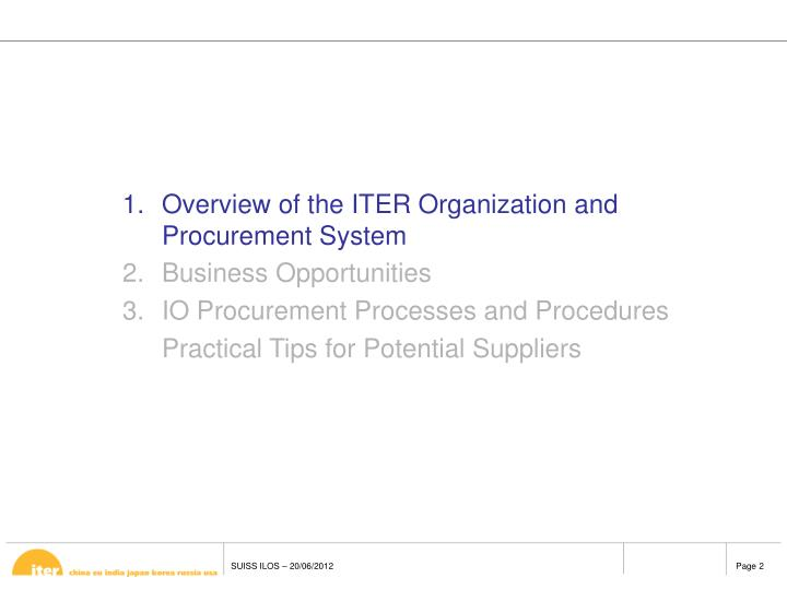 Overview of the ITER Organization and Procurement System