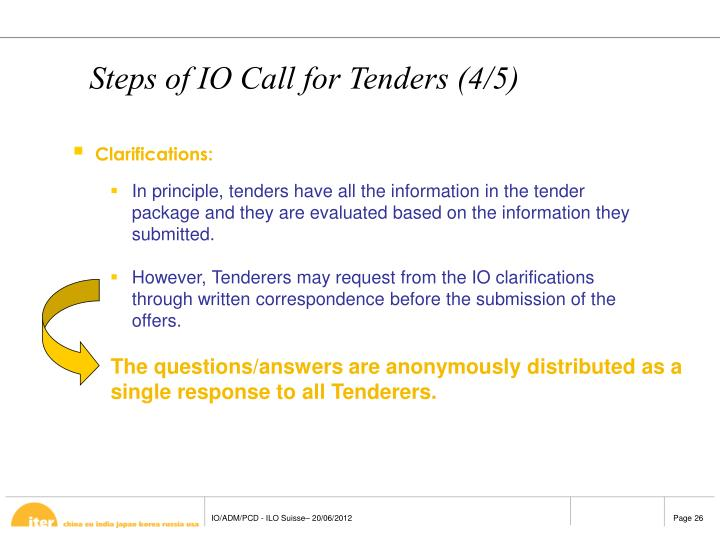 The questions/answers are anonymously distributed as a single response to all Tenderers.