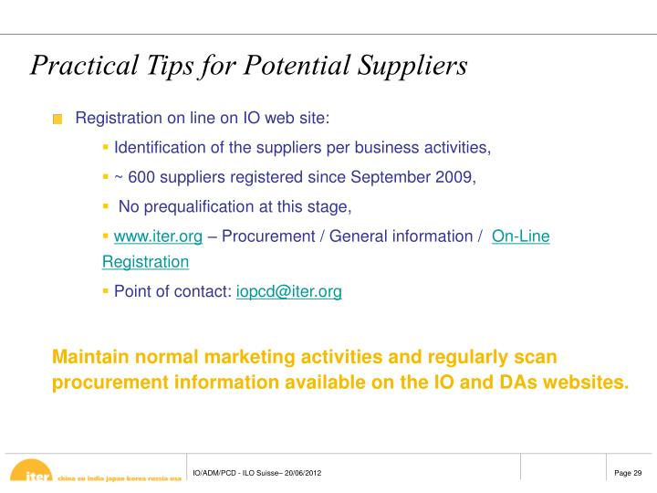 Practical Tips for Potential Suppliers