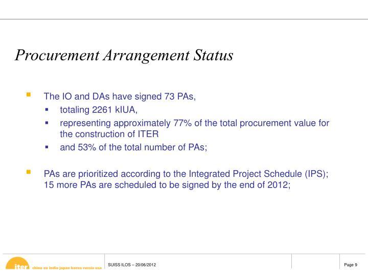 Procurement Arrangement Status