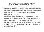 preservation of identity