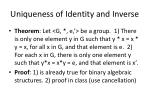 uniqueness of identity and inverse
