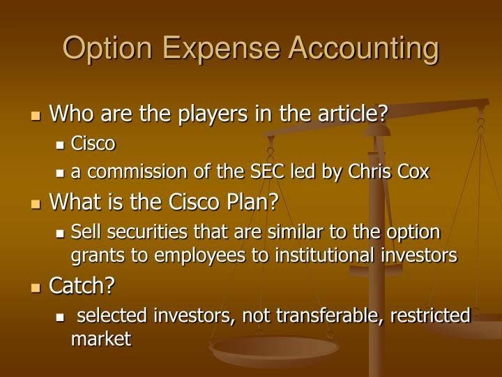 option expense accounting n.