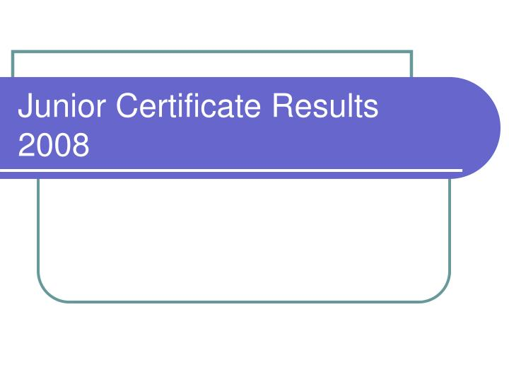 junior certificate results 2008 n.