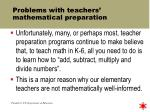 problems with teachers mathematical preparation