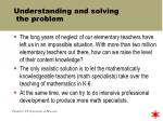 understanding and solving the problem