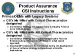 product assurance csi instructions