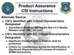 product assurance csi instructions1
