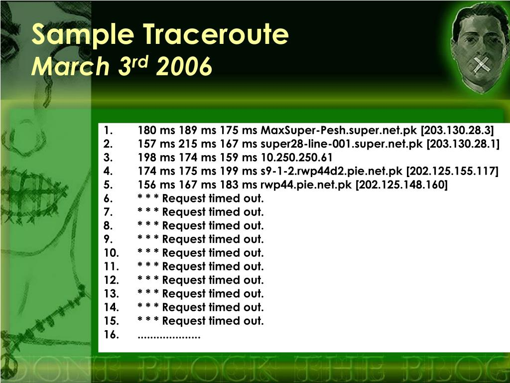 Sample Traceroute
