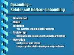 opsamling rotator cuff lidelser behandling