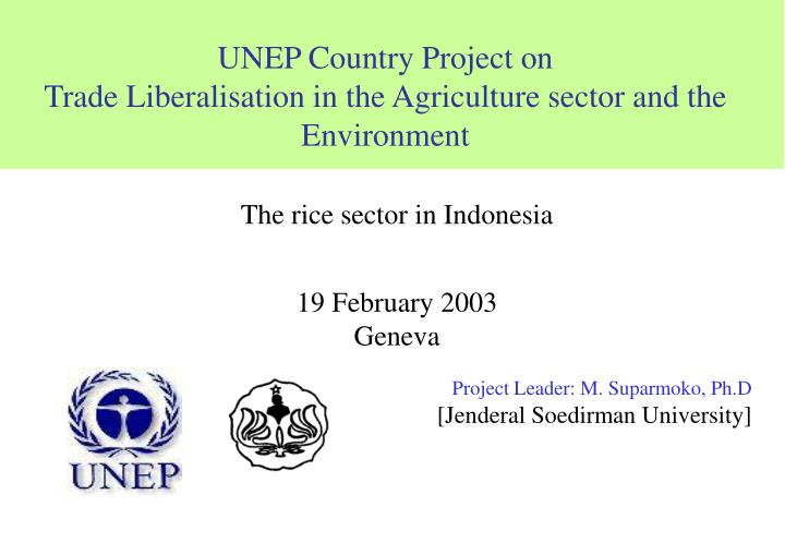 unep country project on trade liberalisation in the agriculture sector and the environment n.