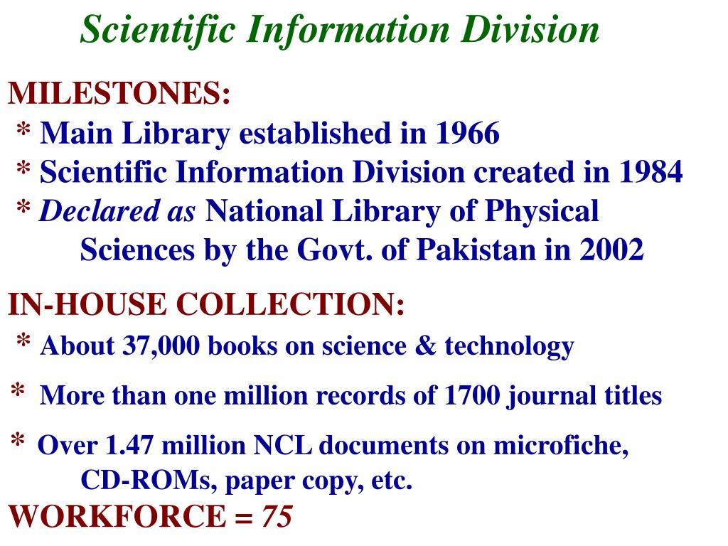 Scientific Information Division