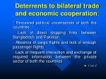 deterrents to bilateral trade and economic cooperation