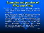 examples and purview of rtas and ftas