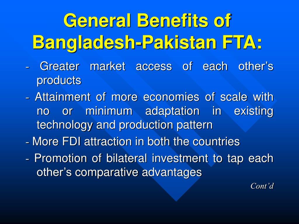 General Benefits of Bangladesh-Pakistan FTA: