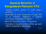 general benefits of bangladesh pakistan fta