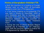 history of bangladesh pakistan fta