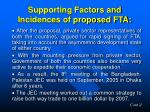 supporting factors and incidences of proposed fta