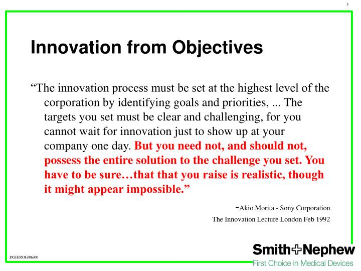 Innovation from objectives