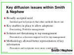key diffusion issues within smith nephew
