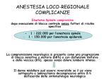 anestesia loco regionale complicanze