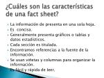 cu les son las caracter sticas de una fact sheet
