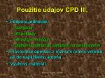 pou itie dajov cpd iii