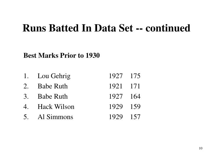 Runs Batted In Data Set -- continued