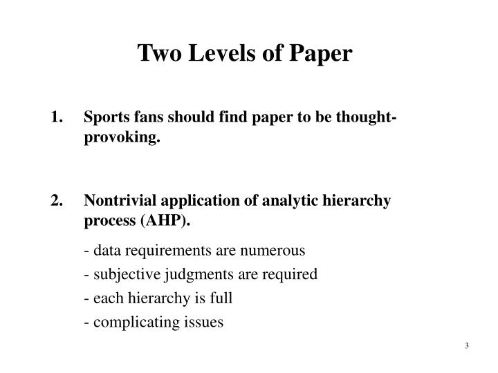 Two Levels of Paper