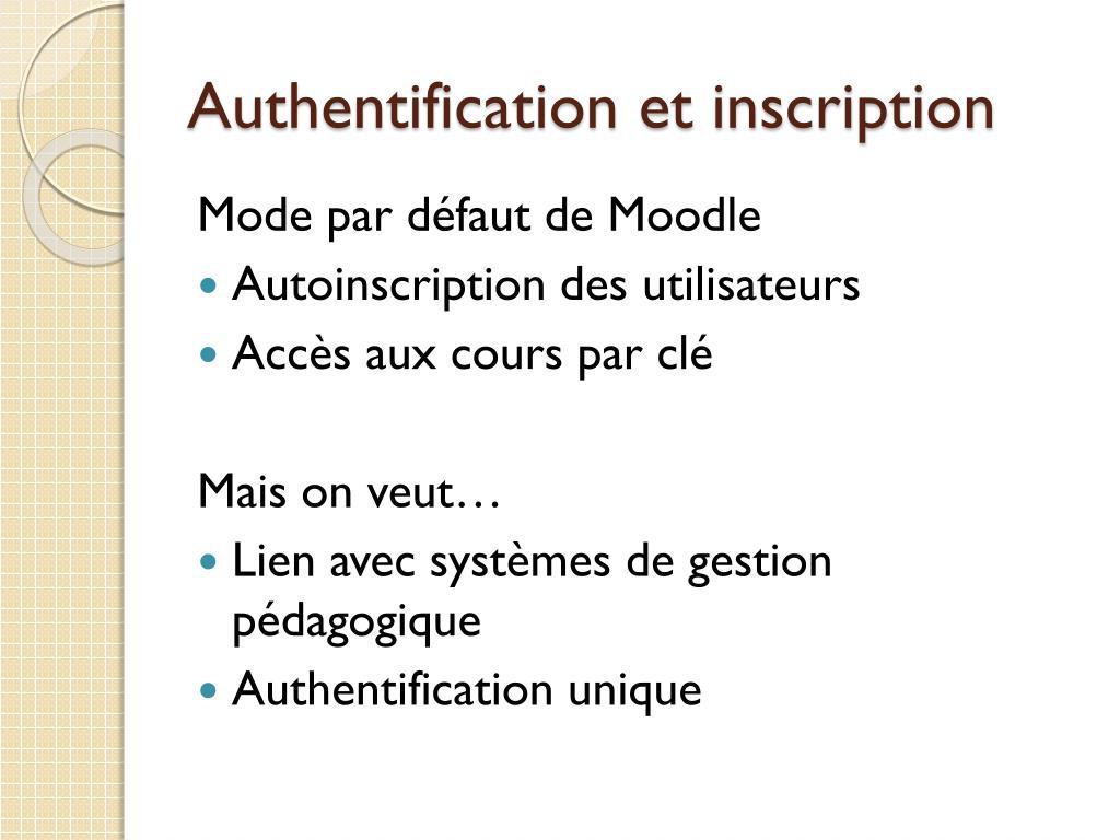 Authentification et inscription