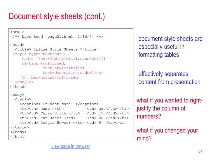 Document style sheets (cont.)