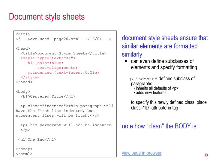 Document style sheets
