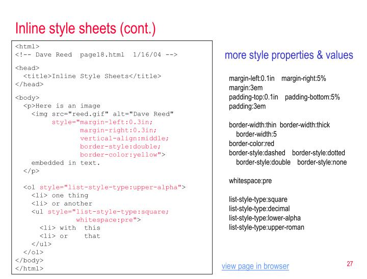 Inline style sheets (cont.)