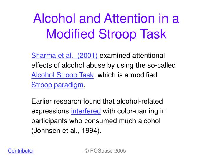 alcohol and attention in a modified stroop task n.