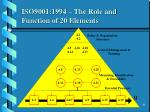 iso9001 1994 the role and function of 20 elements
