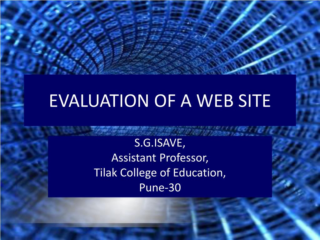 evaluation of a web site l.