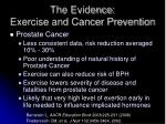 the evidence exercise and cancer prevention