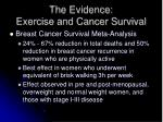 the evidence exercise and cancer survival