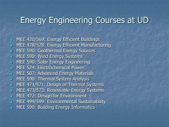Energy Engineering Courses at UD