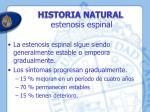 historia natural estenosis espinal