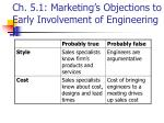 ch 5 1 marketing s objections to early involvement of engineering